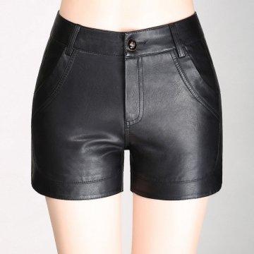Womens Casual Black Leather High Waist Bodycon Shorts