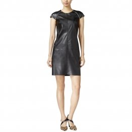 Womens Casual Cap Sleeves Zip Details Black Leather Dress