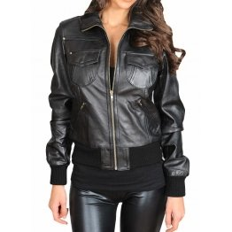 Womens Casual Designer Slim Fit Black Leather Bomber Jacket
