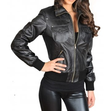 Womens Casual Designer Slim Fit Black Leather Bomber Jacket