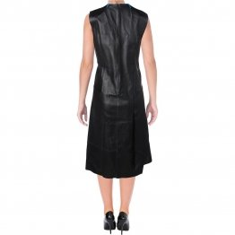 Womens Casual Pieced Real Black Leather Sleeveless Dress Outfit