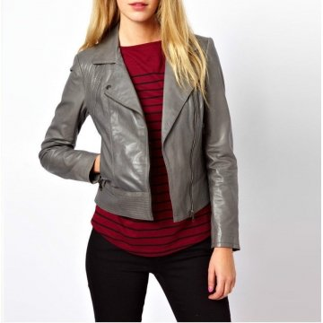 Womens Casual Slim Fit Real Lambskin Grey Leather Jacket