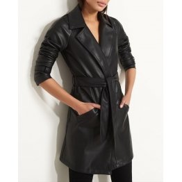Womens Celebrity style Genuine Lambskin Black Leather Coat