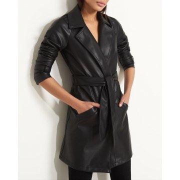 Womens Celebrity style Genuine Lambskin Black Leather Coat