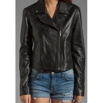 Womens Classic Front Collar Black Leather Motorcycle Jacket