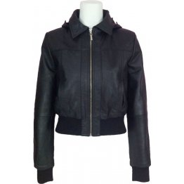 Womens Classic Hooded Black Leather Bomber Jacket