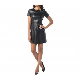 Womens Cocktail Vegan Black Leather Party Dress