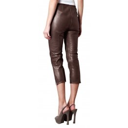 Womens Cool Slim Fit Pure Brown Leather Capri Pant