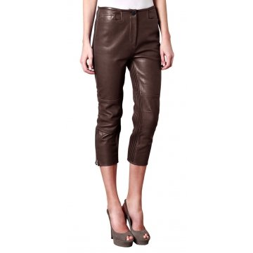 Womens Cool Slim Fit Pure Brown Leather Capri Pant