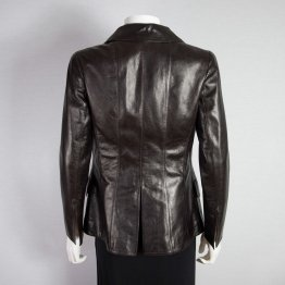 Womens Elegant Brown Lambskin Leather Blazer Jacket Coat