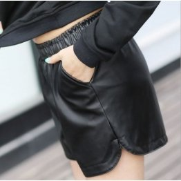 Womens Fashionable Elastic Temperament Black Leather Shorts