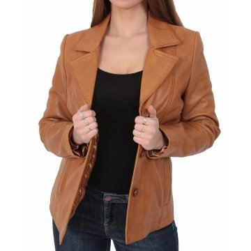 Womens Fitted Tan Brown Leather Blazer Jacket Coat