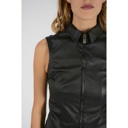 Womens Full Zip Pure Black Leather Sleeveless Shirt Dress