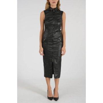 Womens Full Zip Pure Black Leather Sleeveless Shirt Dress