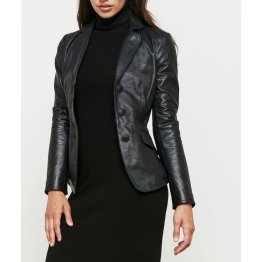 Womens Genuine Custom Made Black Leather Blazer