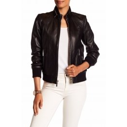 Womens Genuine Lambskin Black Leather Zip Moto Bomber Jacket