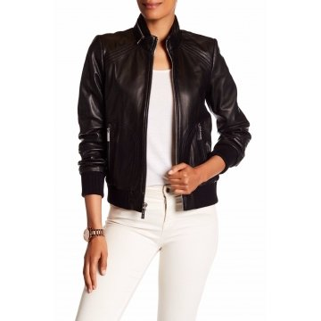 Womens Genuine Lambskin Black Leather Zip Moto Bomber Jacket