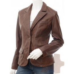 Womens High Quality Genuine Lambskin Brown Leather blazer