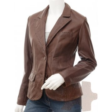 Womens High Quality Genuine Lambskin Brown Leather Coat