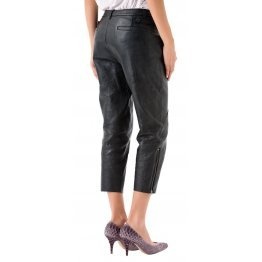 Womens High Waisted Front Pockets Pure Black Leather Capri Pant