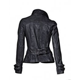 Womens Hot Designer Real Black Leather Blazer Jacket Coat