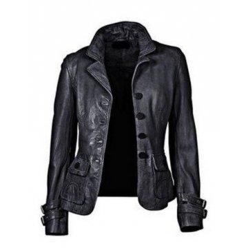 Womens Hot Designer Real Black Leather Blazer Jacket Coat