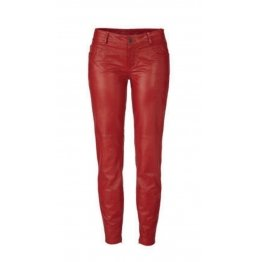 Womens Hot Real Genuine Soft Lambskin Red Leather Pants