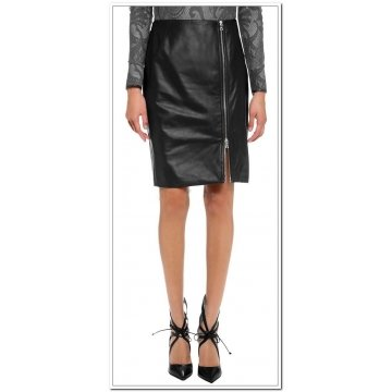 Womens Knee Length Genuine Soft Lambskin Black Leather Skirt