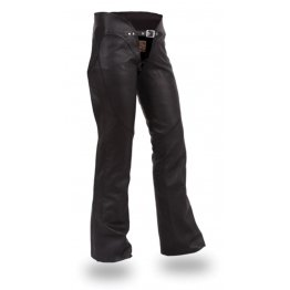 Womens Low Rise Curvy Fitted Black Leather Motorcycle Chaps