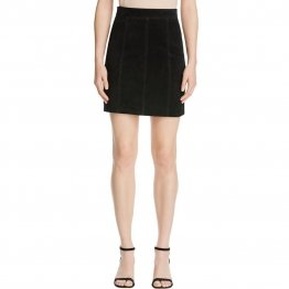 Womens Partywear Suede Black Leather Mini A-Line Skirt