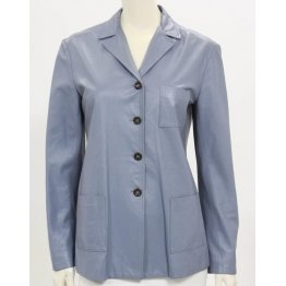 Womens Pure Blue Leather Simple Blazer Jacket