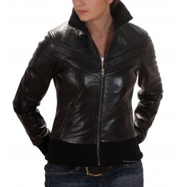 Womens Pure Genuine Lambskin Black Leather Bomber Jacket