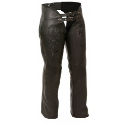 Womens Reflective Tribal Embroidery Black Leather Biker Chaps