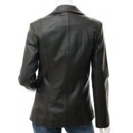 Womens Slim Fit  Outwear Black Leather Coat Style Blazer
