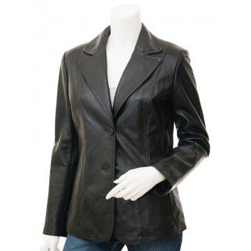 Womens Slim Fit  Outwear Black Leather Coat Style Blazer