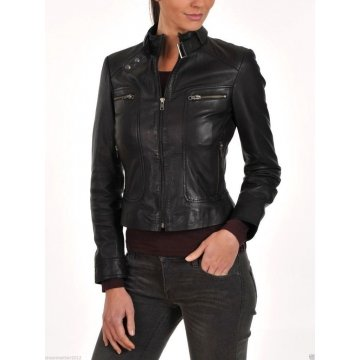 Womens Slim Fit Pure Black Leather Motorcycle Short Jacket