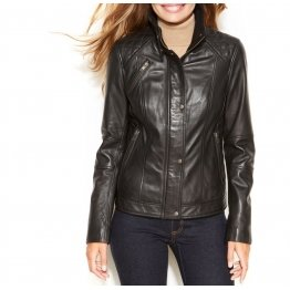 Womens Slim Fit Pure Soft Black Leather Jacket