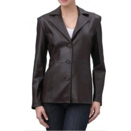 Womens Soft Genuine  Real Brown Leather Blazer Jacket Coat