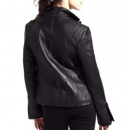 Womens Soft Genuine Lambskin Black Leather Blazer Jacket