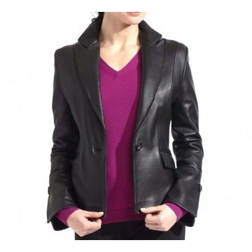 Womens Soft Genuine Lambskin Black Leather Blazer Jacket