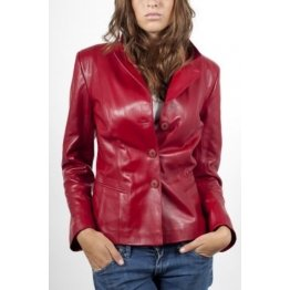 Womens Soft Genuine Red Leather Blazer Jacket Coat