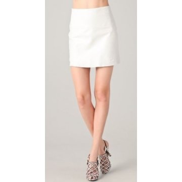 Womens Stylish Genuine Lambskin White Leather Mini Skirt