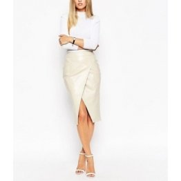 Womens Stylish Slimfit Genuine White Leather Partywear Skirt