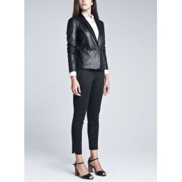 Womens Stylish Soft Lambskin Black Leather Blazer