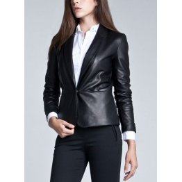 Womens Stylish Soft Lambskin Black Leather Jacket style Coat