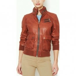 Womens Tan color Leather Moto Biker Hooded Bomber Jacket