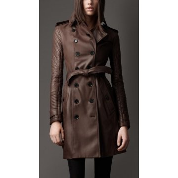 Womens Brown Long Leather Quilted Sleeve Trench Coat