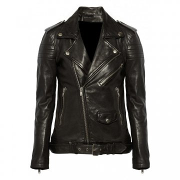 Women's Classic Leather Motorcycle Quilted Zip Up Jacket