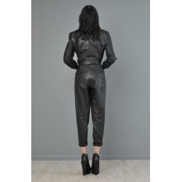 Womens Customized Genuine Black Leather Overall Jumpsuit