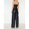 Womens Formal Pure Black Leather Full Length Jumpsuit